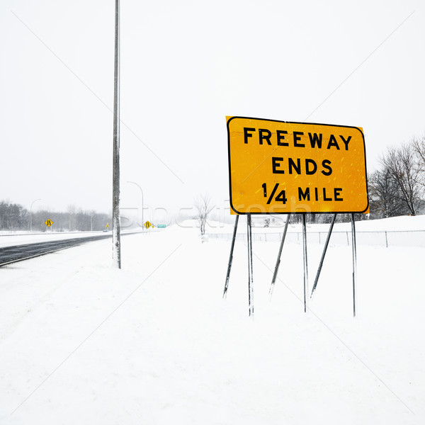 Stock photo: Snow covered freeway.