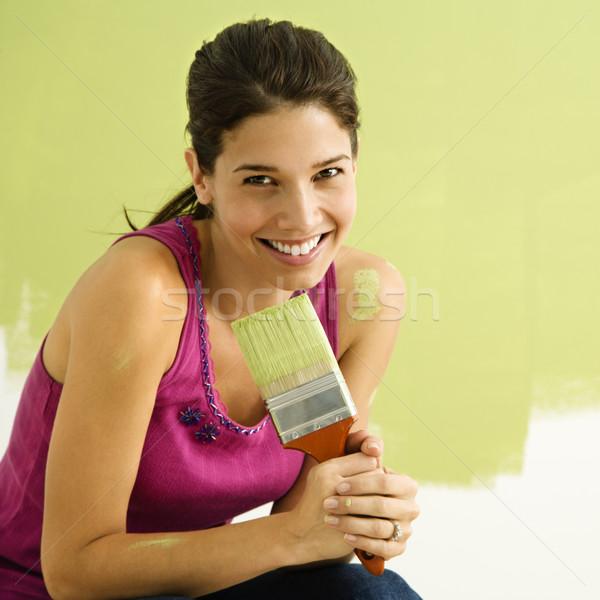 快樂 女子 畫 漂亮 微笑的女人 商業照片 © iofoto