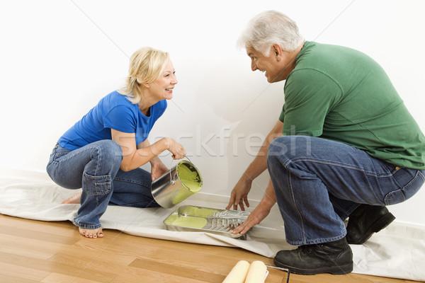человека женщину краской пару Сток-фото © iofoto