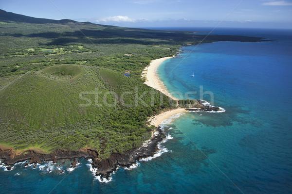 Krater kust luchtfoto Hawaii strand water Stockfoto © iofoto