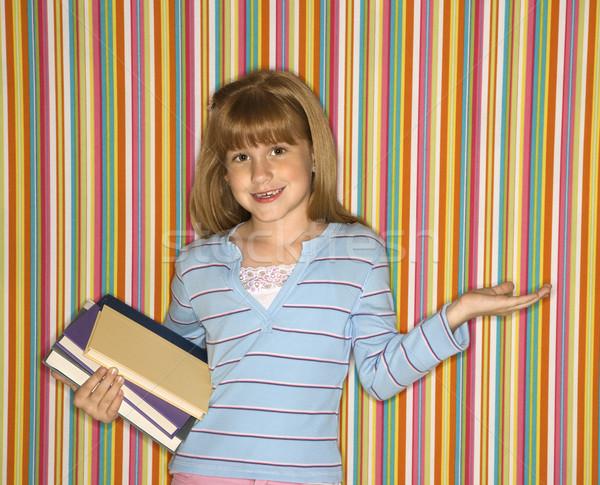 Stock fotó: Lány · tart · könyvek · kaukázusi · női · gyermek