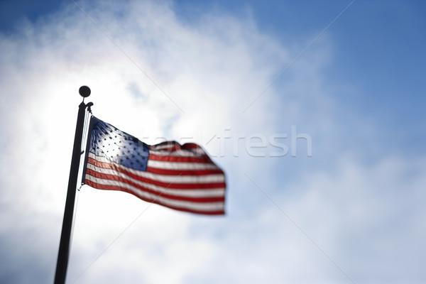 Amerikan bayrağı esinti mavi gökyüzü Stok fotoğraf © iofoto