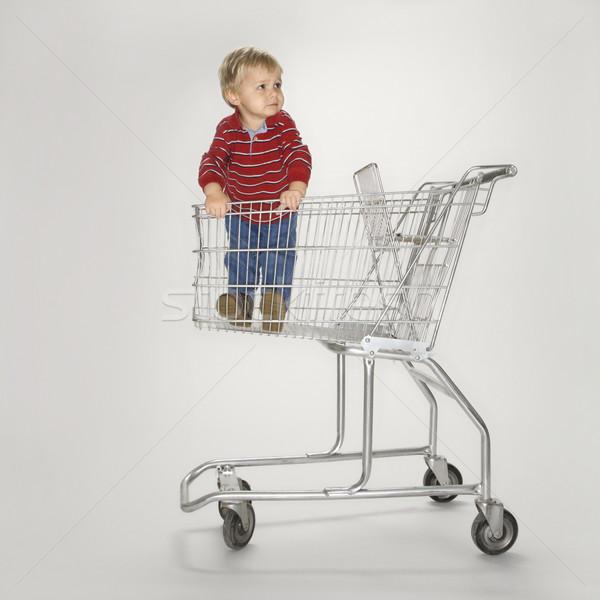 Jongen lege winkelwagen studio portret kaukasisch Stockfoto © iofoto