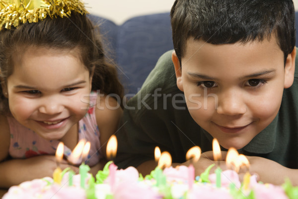 Kids and birthday cake. Stock photo © iofoto