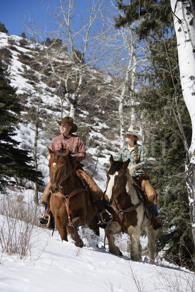 Zdjęcia stock: Człowiek · kobieta · jazda · konna · konie · śniegu · młoda · kobieta