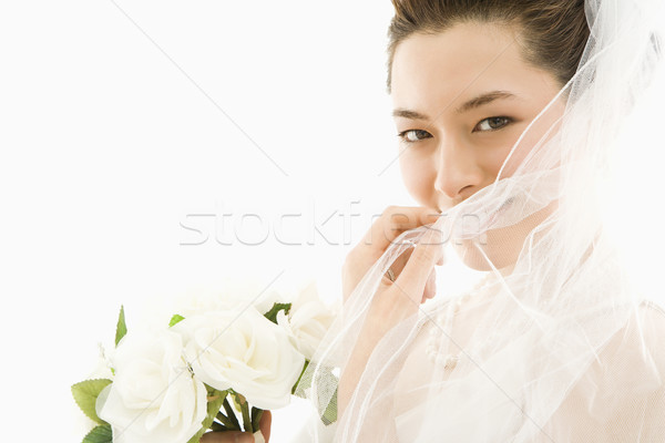 Mariée bouquet portrait asian voile Photo stock © iofoto