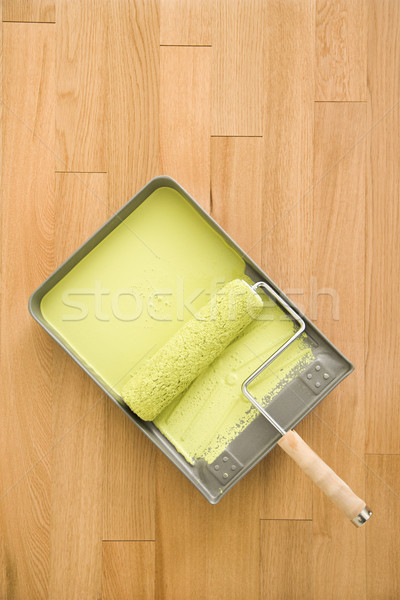 Paint roller in tray. Stock photo © iofoto