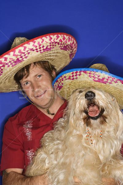 собака человека пушистый коричневая собака кавказский Сток-фото © iofoto