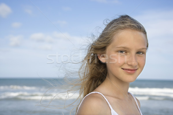 Foto stock: Retrato · nina · playa · caucásico · mirando · nino