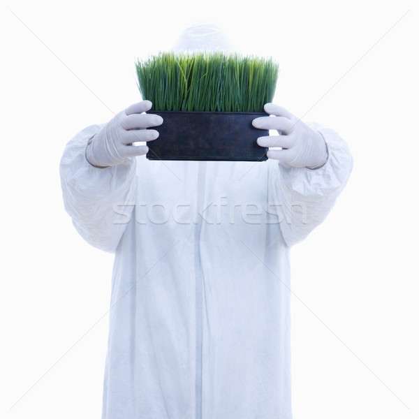 Biohazard man with grass. Stock photo © iofoto