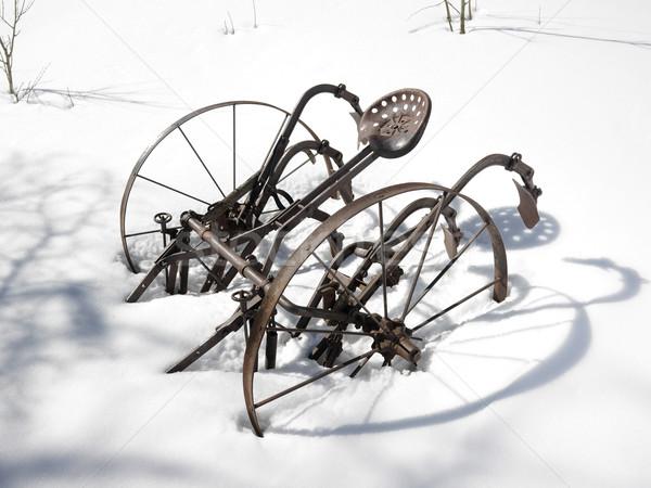 Metal plow in snow Stock photo © iofoto