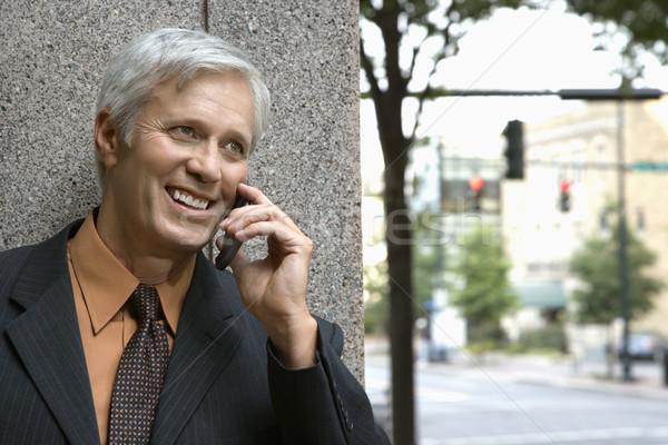 Zakenman mobiele telefoon kaukasisch praten mobiele telefoon Stockfoto © iofoto
