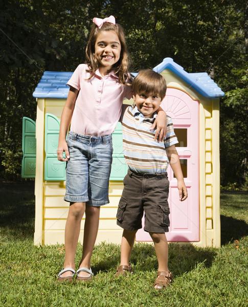Fratelli fuori ispanico ragazzo ragazza outdoor Foto d'archivio © iofoto