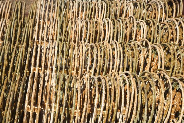 Metal ogrodzenie wraz rząd tekstury Zdjęcia stock © iofoto