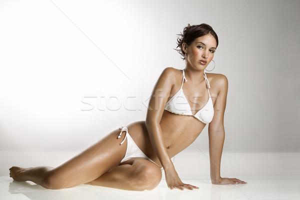 Vrouw badpak kaukasisch bikini vergadering Stockfoto © iofoto