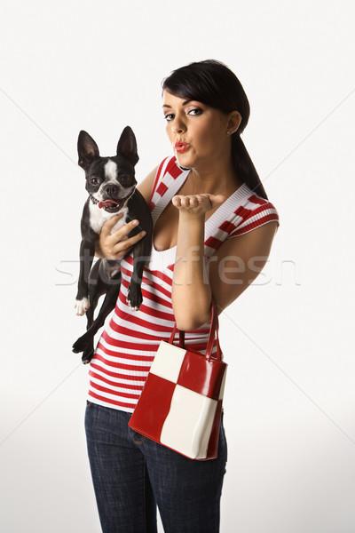 Stock fotó: Nő · tart · Boston · terrier · kutya · fiatal · felnőtt
