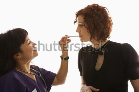 看護 女性 舌 白人 妊娠 女性 ストックフォト © iofoto
