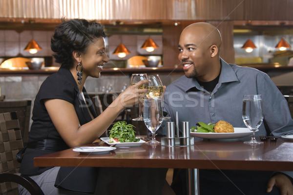 Paar wijn dining uit bril Stockfoto © iofoto