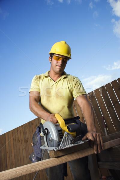 建設作業員 木材 男性 白人 保護眼鏡 ストックフォト © iofoto
