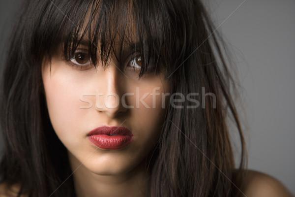 Jeune femme joli longtemps cheveux noirs femme visage Photo stock © iofoto
