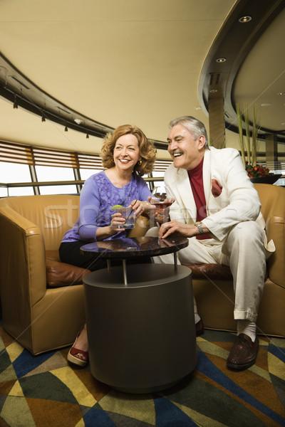 érett pár randizás kaukázusi ül bár Stock fotó © iofoto