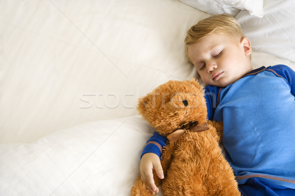 Child sleeping with bear. Stock photo © iofoto