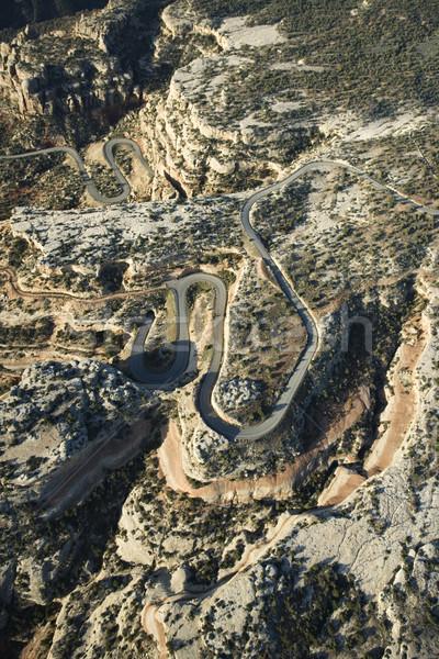 Stock photo: Curvy desert road.