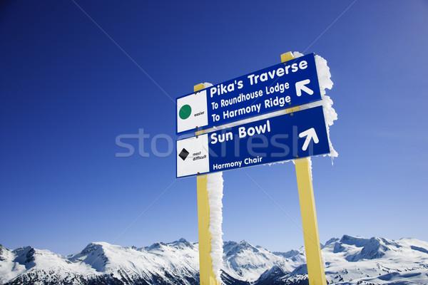 Ski resort trail signs. Stock photo © iofoto