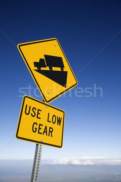 Stromy ciężarówka podpisania znak drogowy parku drogowego Zdjęcia stock © iofoto