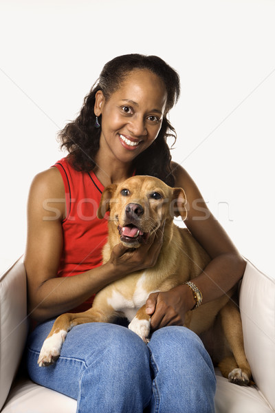 Femme chien adulte Homme Photo stock © iofoto