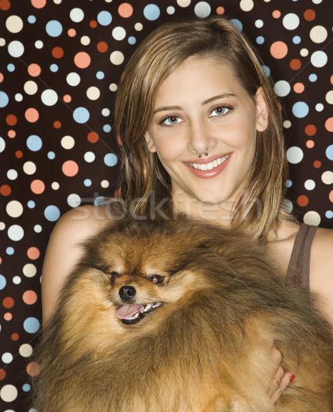 Menina adolescente cão caucasiano adolescente feminino Foto stock © iofoto