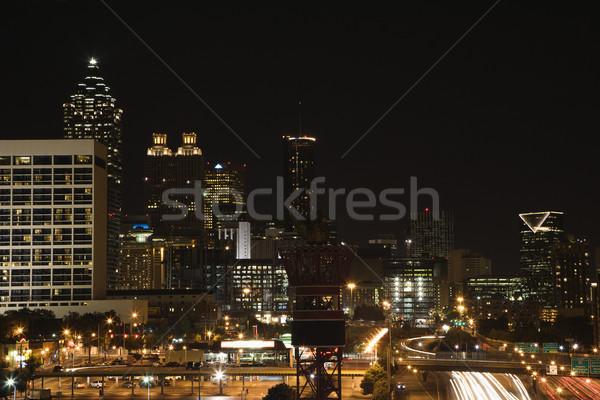 Stock fotó: Atlanta · Grúzia · sziluett · város · fények · szín