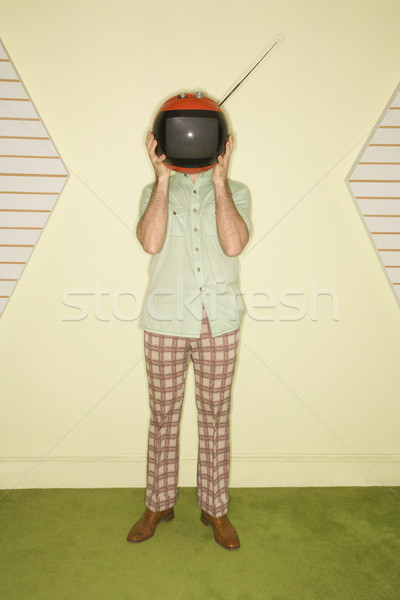 Man replaced by television. Stock photo © iofoto