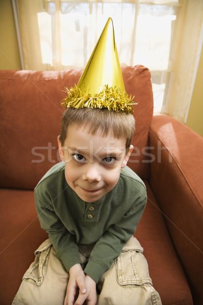 Erkek parti şapka kafkas bakıyor Stok fotoğraf © iofoto