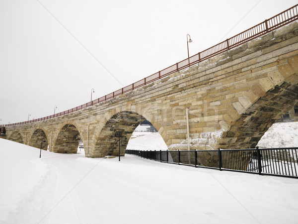 Snowy bridge scene. Stock photo © iofoto