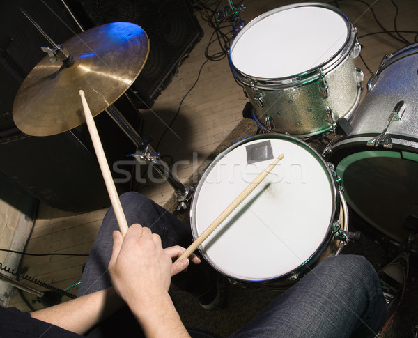 Drummer playing drumset. Stock photo © iofoto