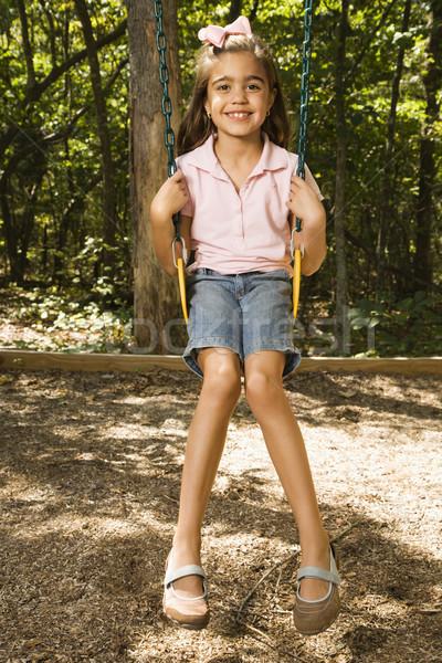 Meisje swing latino vergadering speeltuin glimlachend Stockfoto © iofoto