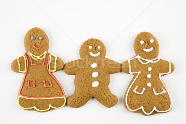 Stockfoto: Gelukkig · peperkoek · cookies · drie · mannelijke · vrouwelijke
