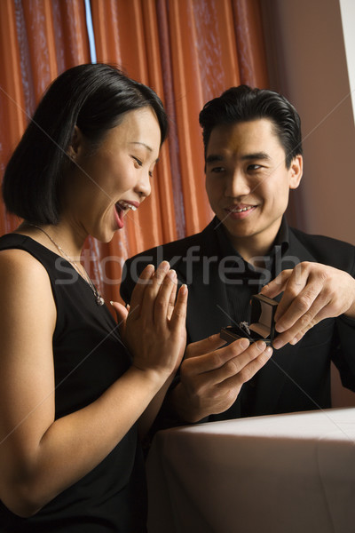 Attractive Young Couple Getting Engaged Stock photo © iofoto