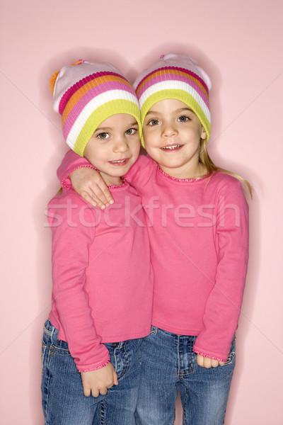 женщины близнец детей Постоянный вместе молодые Сток-фото © iofoto