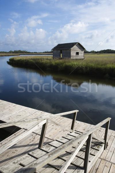 Walkway down to dock on creek. Stock photo © iofoto