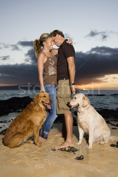 Affectionate Couple With Dogs at the Beach Stock photo © iofoto