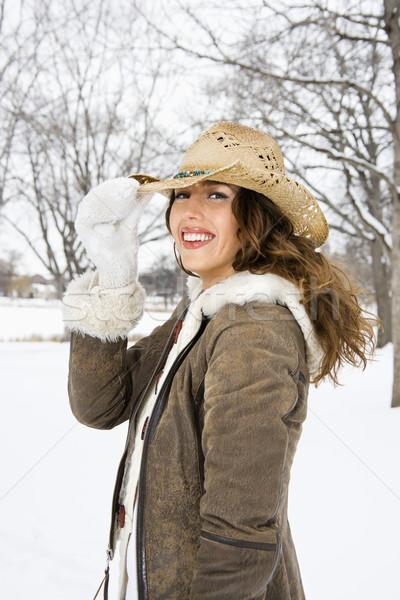 Foto d'archivio: Donna · Hat · femminile · sorridere
