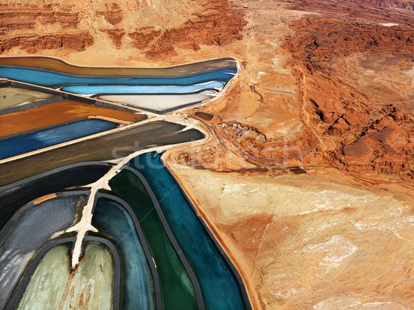 Rocky Landscape With Tailing Ponds Stock photo © iofoto