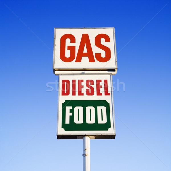 газ дизельный продовольствие знак Blue Sky небе Сток-фото © iofoto