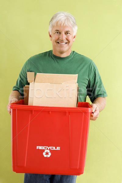 Foto stock: Homem · reciclagem · retrato · sorridente · adulto