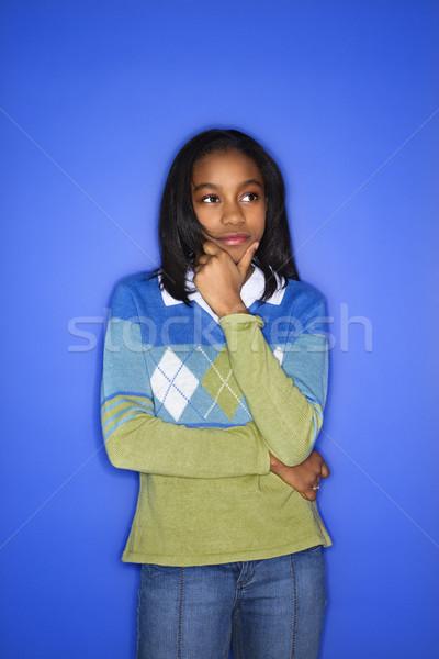девушки глядя портрет стороны подбородок Сток-фото © iofoto