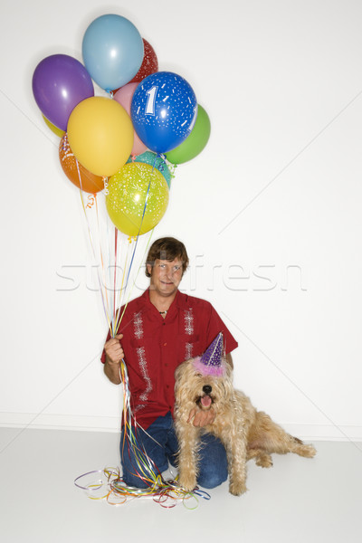 Stock photo: Dog birthday celebration.