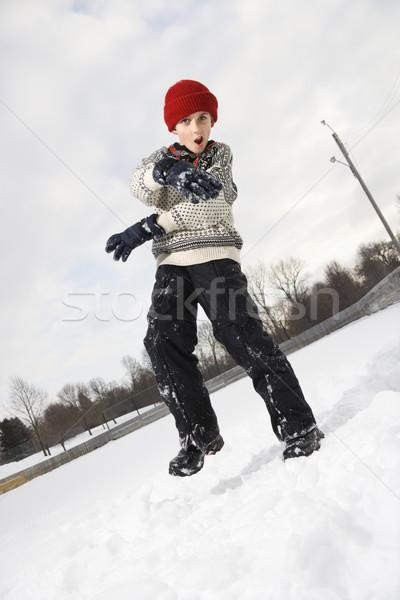 Nino nieve caucásico la boca abierta suéter Foto stock © iofoto