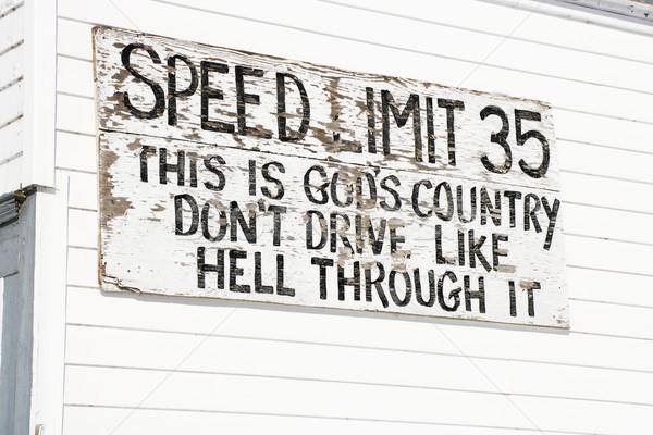 Funny speed limit sign. Stock photo © iofoto